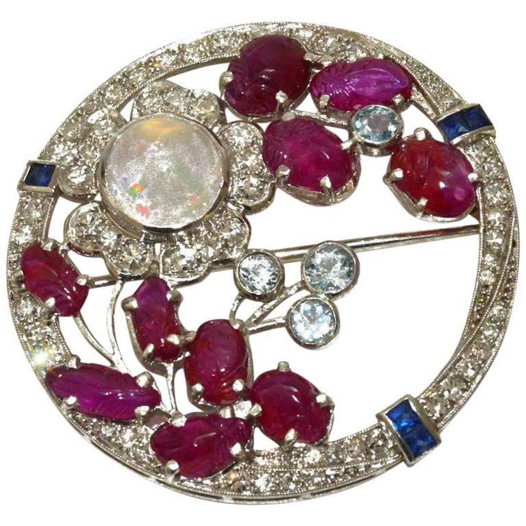 Gorgeous Art Deco Diamond, Carved Ruby, Moonstone Floral Brooch For Sale