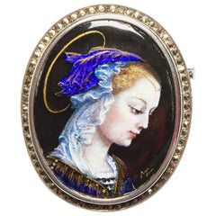 Antique French Limoges Silver, Enamel and Marcasite Brooch
