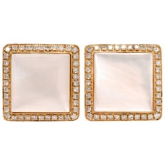 Modern Diamond Mother-of-Pearl Yellow Gold Men's Square Cufflinks