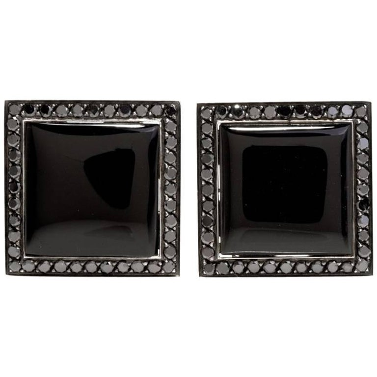Stylish Square Onyx Black Diamond White Gold Men's Cufflinks