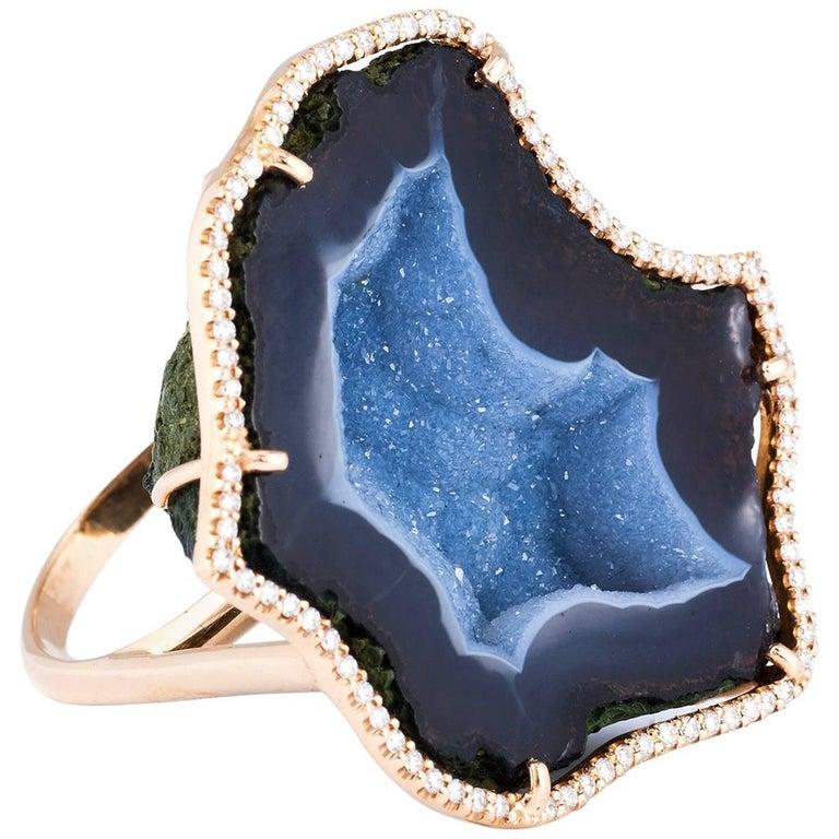 Karolin Agate White Diamond Pavé Rose Gold Cocktail Ring For Sale