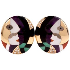 Asch Grossbardt Mosaic Picaso Collection Gold Clip Earrings
