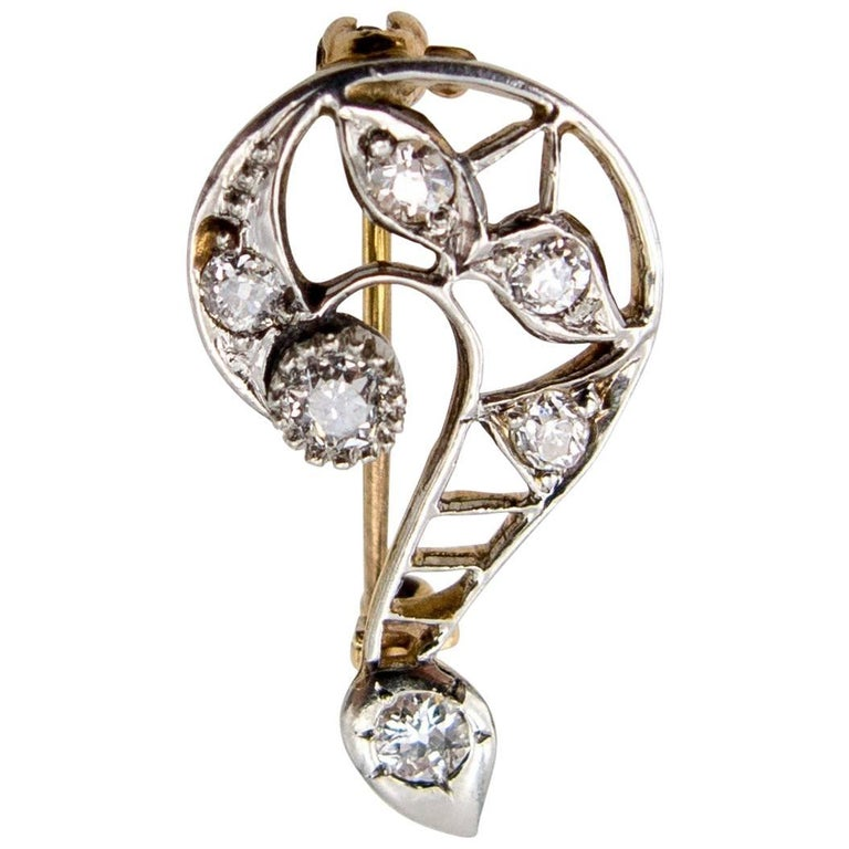 Edwardian Gold Diamond Question Mark Pin