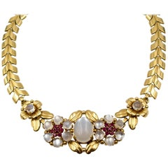 Tiffany & Co. Retro Moonstone Ruby Gold Necklace