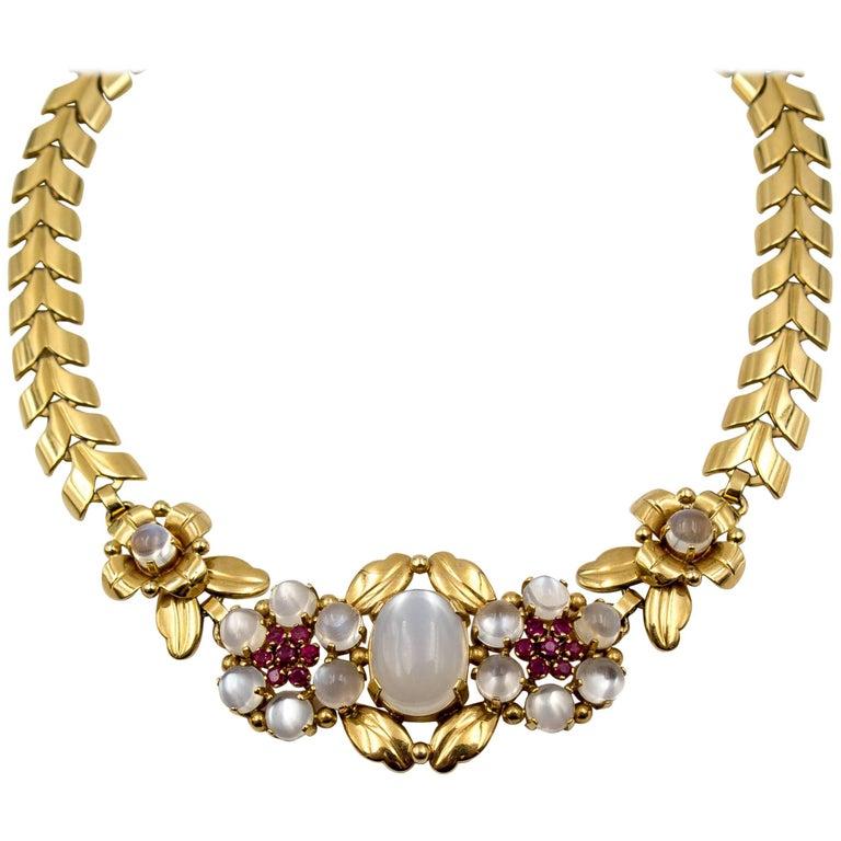 Tiffany & Co. Retro Moonstone Ruby Gold Necklace