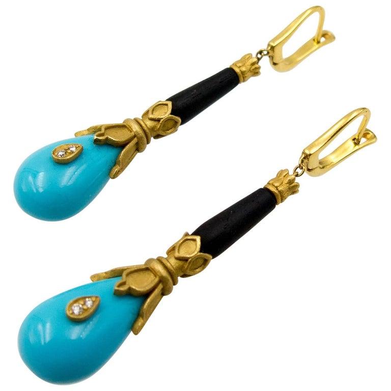 Fibula Turquoise Diamond Ebony Gold Earrings