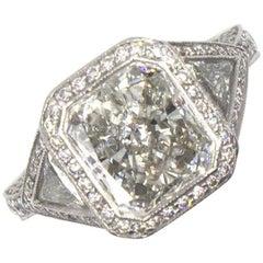 4.21 Carat Radiant Cut Diamond Platinum Engagement Ring GIA Certified