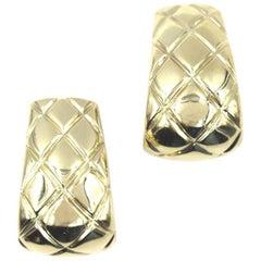 Chaumet Quilted 18 Karat Yellow Gold Half Hoop Earrings