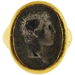 Helen Woodhull Roman Intaglio 22 Karat Ring, 1981