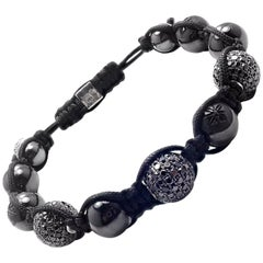 Shamballa Jewels Black Diamond Ceramic Black and White Gold Macrame Bracelet