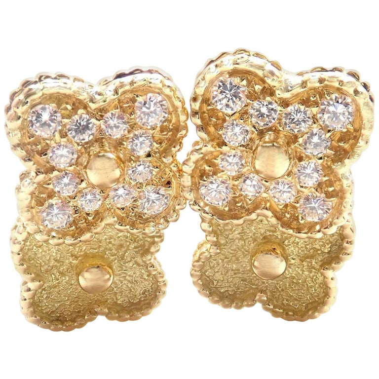 Van Cleef & Arpels Diamond and Yellow Gold Vintage Alhambra Earrings