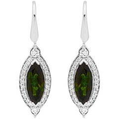Elegant Matthew Ely Green Tourmaline Ear Rings in Art Deco Style