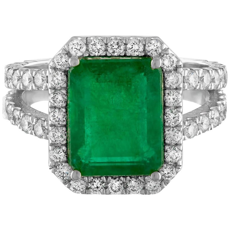GIA Certified 3.27 Carat Emerald and Diamond Gold Ring