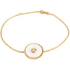 Gold Diamond Mother-of-Pearl Bracelet