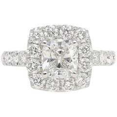 "GIA Certified 1.35 Carat ""E"" Color ""Si1"" Clarity Cushion Cut Diamond Ring"