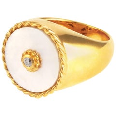 Gold Signet White Mother-Of-Pearl Cocktail Ring