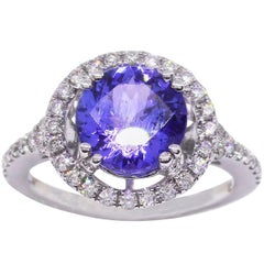 Tanzanite Halo Diamond 18 Carat White Gold Ring