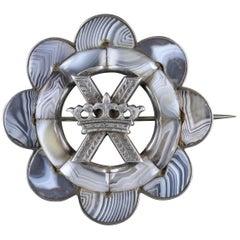 Antique Victorian Scottish Brooch Agate Silver St Andrews Cross, circa 1860