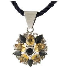 White Gold Silver Diamonds Sapphires Topazes Star Pendant