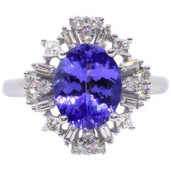 Tanzanite Diamond 18 Carat White Gold Fancy Dress Ring