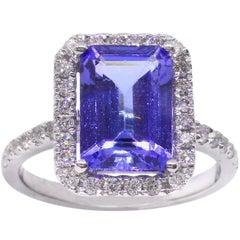 Tanzanite Diamond Emerald Cut 18 Carat White Gold Dress Ring