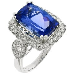 Tanzanite Diamond Dress Ring 18 Carat White Gold