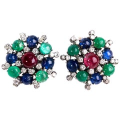 Pair of Emerald, Ruby and Sapphire Earrings