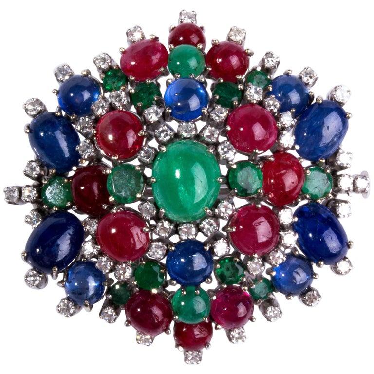 Emerald, Sapphire Ruby and Diamond Brooch