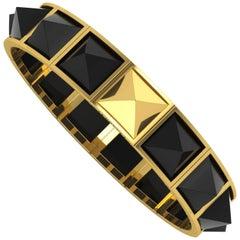 Ferrucci Black Onyx Pyramids Bracelet in 18 Karat Yellow Gold