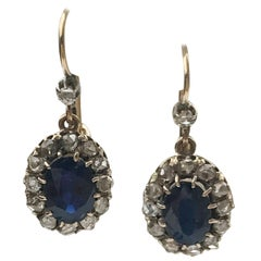 Sapphire and Rose Cut Diamond Victorian Earrings
