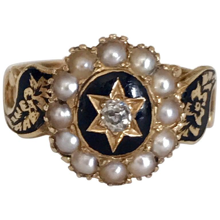 Victorian Black Enamel Pearl Diamond Memorial Ring