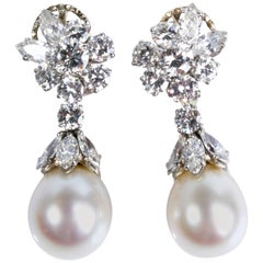 Pair of Pearl and Diamond Earrings