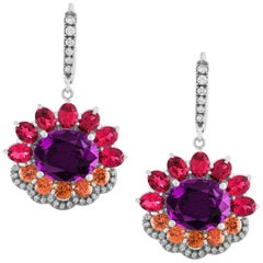 Pantone18  Ultra Violet Garnet  Red Spinels Orange Sapphires 18 K Gold Earrings