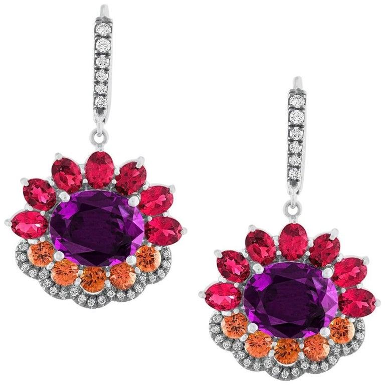 Pantone18  Ultra Violet Garnet  Red Spinels Orange Sapphires 18 K Gold Earrings