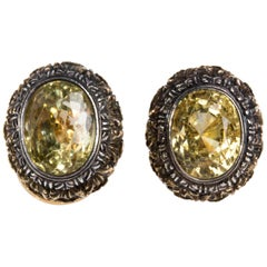 Pair of Yellow Sapphire Earrings