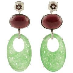 Diamond Giade Mother-of-Pearl Garnet White Gold Earrings
