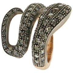 Rose Cut Diamonds Gold Snake Ring