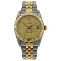 Rolex Yellow Gold Stainless Steel Datejust Wristwatch Ref 68723, 1991