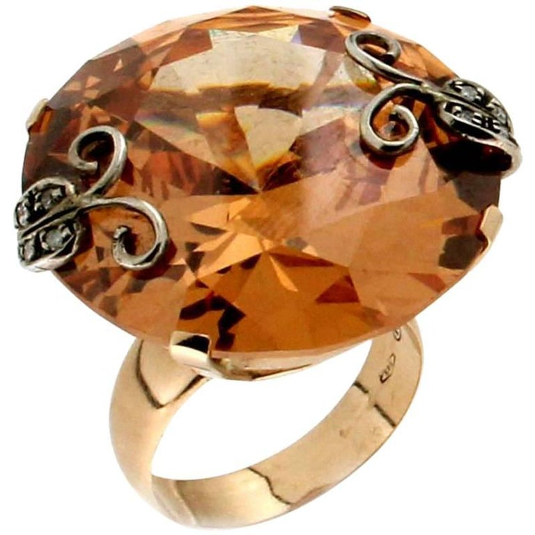 Citrine 14 Carat Yellow Gold Diamonds Cocktail Ring