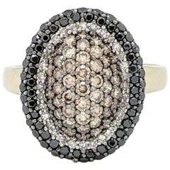 14 Karat White Gold 1 Carat Pave Set White, Black and Champagne Diamond Ring