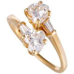 Bulgari Heart Cut Diamond Yellow Gold Bypass Ring