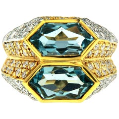 Iconic Bulgari Aquamarine Diamond Two-Color Gold Double Ring