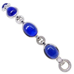 Fine Tanzanite Diamond Pavé 18k White Gold Bracelet