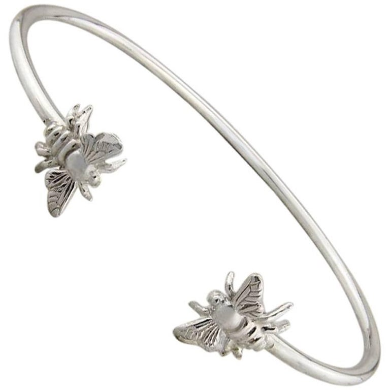 Sterling Silver Bee Bangle Bracelet