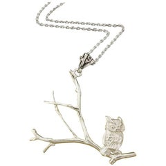 Owl Necklace in Solid Sterling Silver.