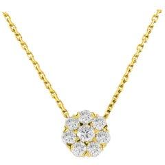 18 Karat Yellow Gold 1.16 Carat Diamond Flower Pendant Necklace