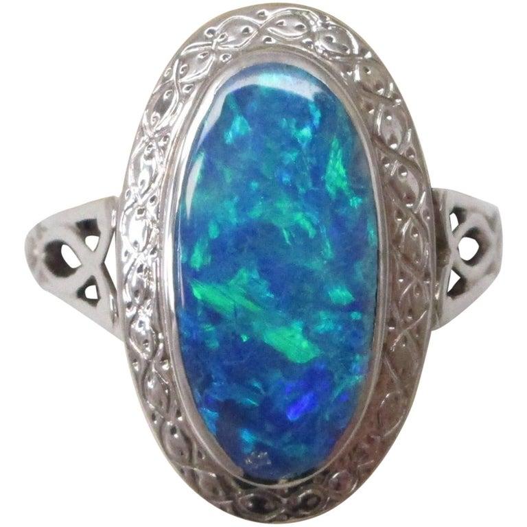 Black Opal White Gold Ring