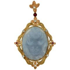 Vintage Chalcedony Buddha Diamond Ruby Two-Color Gold Pendant