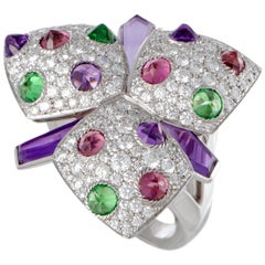 Cartier Tsavorite, Pink Tourmaline, Amethyst and Diamond Gold Flower Ring
