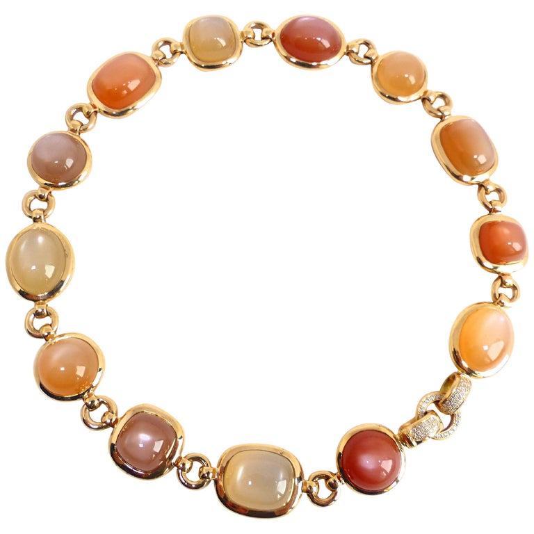Fine multicolour Moonstone and Diamond 18k Rose Gold Necklace